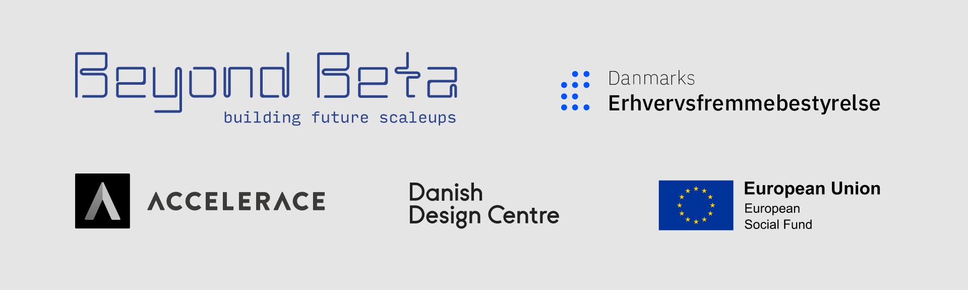 Beyond Beta, Accelerace, Danish Design Centre, Danmarks Erhvervsfremmebestyrelse, EU European Social Fund
